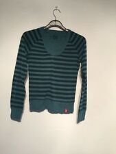 Ladies 100% Cotton  Green And Grey Striped Jumper By EDC ESPRIT Size XXS