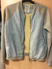 Pull And Bear Raglan Grey Blue Zip Bomber Jacket