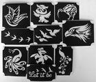 bm2017 set BIRDS owl kiwi GLITTERTATTOO 10 different stencils glitter tattoo