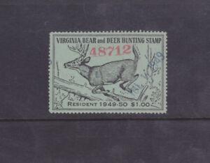 State Hunting/Fishing Revenues - VA - 1949 Bear/Deer Res. Stamp ($1) - Used