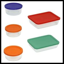 PYREX 10PCS Glass Food Storage Set Assorted Color Lid Containers Tupperware Oven