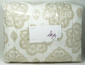 Sky Home Bedding Kayla 100% Cotton Reversible Paisley Quilt - KING - White/Gold