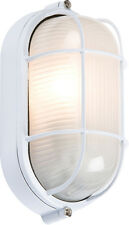 Knightsbridge 230V IP54 60W White Oval Bulkhead Wire Guard and Glass Diffuser x1