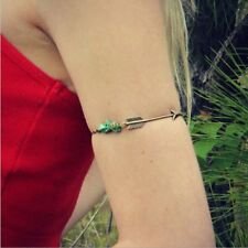 ANTIQUE GOLD ARROW OF LOVE SLAVE TURQUOISE STONES UPPER ARM CUFF ARMLET CHAIN 4