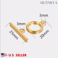 Wholesale Stainless Steel Gold Toggle Clasps Jewelry Making Findings 15mm Dia US