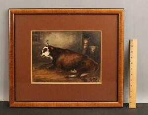 19thC Antique Barnyard Country Farm Bull  & Cows Watercolor Gouache Painting NR