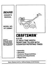 """Craftsman 8HP 21"""" inch Tiller 917.299881 Adjustments Operator Instruction Manual"""