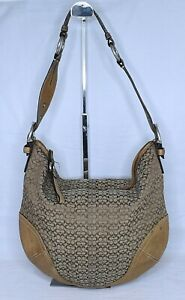 COACH Hobo Mini Signature Khaki Brown Shoulder Bag Purse 1461