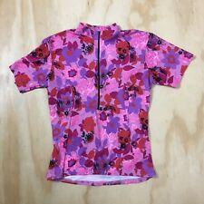 Terry Bicycle Jersey Short Sleeve Pink Purple Red Floral Half Zip Top Women's M