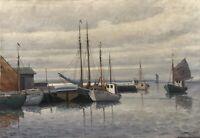 Fischerboote im Hafen Holger Ytting 1900-? Ölgemälde beschädigt 67 x 97 cm