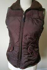 CAbi Brown Quilted Puffer Vest  Sunflower Lining Faux Fur #694 SZ M C13