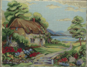 """Tapestry Embroidery Sewing Art """"Road House"""" Handmade"""