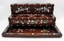 FINE ANTIQUE CHINESE ROSEWOOD MOTHER OF PEARL INLAY OPIUM DAMPER STAND & TRAY