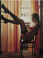 LIMITED EDITION PRINT BY ELLECTRA/ EROTIC/ OIL SUNSET GOLD LESBIAN INTEREST