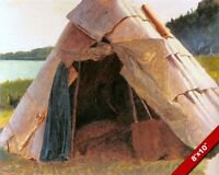 NATIVE AMERICAN INDIAN WIGWAM HOME OIL PAINTING ART REAL CANVAS GICLEE PRINT