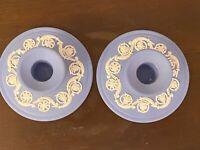 Vintage Pair 1974 WEDGWOOD JASPERWARE BLUE Candle Stick Holders ~ Beautiful