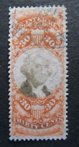 1872 US S#R140 30c org, blk, revenue Used F+ Nice