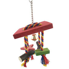 FM- Bright Wood Parrot Chewing Bite Climbing Toy Pet Cage Hanging Ornament _GG