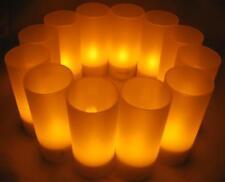 12er Set LED Akku-Teelichter mit Gläsern & Ladestation für bis zu 12 Std. Licht