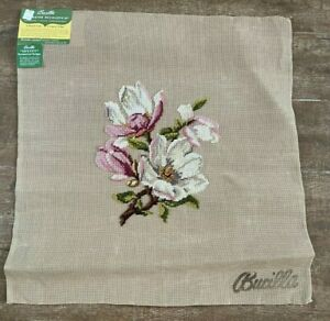 """Bucilla Needlepoint Floral Seat Cover 23"""" picture Pink white magnolia Sextet"""