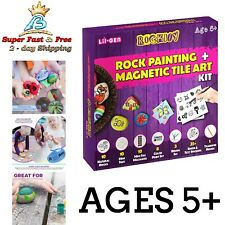 Kids Art Magnetic Tile Rock Painting Kit Girls Boys Craft Gift Set Stone Paint