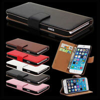 For Apple iPhone 6 6s Plus SE 5s 4 Flip Magnetic Real Leather Wallet Case Cover