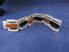 Bracelet 925 Tl-105 Mexico (834) Brown & Black Inlay Links Sterling