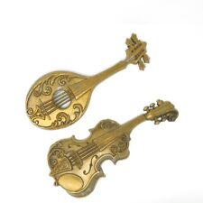 Vtg 70's Sexton Retro Metal Gold Violin & Mandolin Instrument Wall Hangings 1975