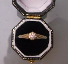 Vintage 9ct Gold Women's Diamond Solitaire Ring Size N Weight 1.1g Stamped