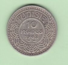 Tunisia 10 francs 1932(ah 1351) rare coin better date KM 255