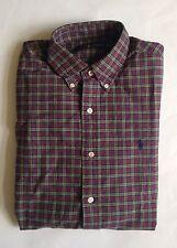 $90 NWT Mens Polo Ralph Lauren Green Red Plaid Button Down Oxford Shirt S