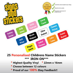 25 PERSONALISED IRON ON NAME TAGS SCHOOL UNIFORM CARE HOME LABELS EASY APPLY 4