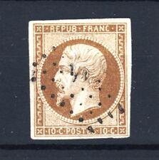 """FRANCE TIMBRE N° 9 """" LOUIS-NAPOLEON 10c  BISTRE 1852 """" OBLITERE TB SIGNE  R916"""