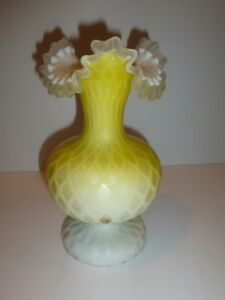 Victorian Satin Glass Vase, Diamond Quilted, Yellow-FLAWS