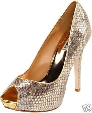 NIB Badgley Mischka Willoe leather peep open pump heel shoes gold Snake print 6