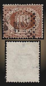 1877 SAN MARINO COAT OF ARMS 30 CENTESIMI BROWN USED SCOTT  15 , MICHEL 4