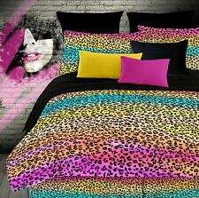 Rainbow Leopard Colorful Full Comforter Set, Teen Girls 4 Piece Bedding, NEW!