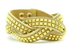 UNIQUE GOLD PLATED SPIKE DESIGN WIDE LINK LEATHER CUFF FASHION BRACELET GIFT NWT