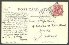 CASA olandese Bristol POST CARD 1D Edoardo VII treharris 1908 Squared CERCHIO