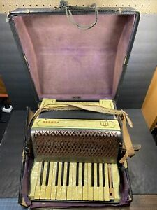 Vintage Hohner Accordion 85280 With Case White Orange - READ FOR DETAILS