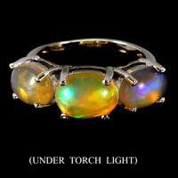 Unheated Oval Fire Opal Rainbow Full Flash 9x7mm 925 Sterling Silver Ring