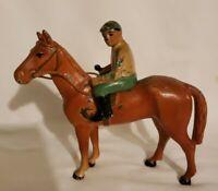 "Antique Hubley Cast Iron Jockey Race Horse Figure 5"" tall by 5.5"" long."
