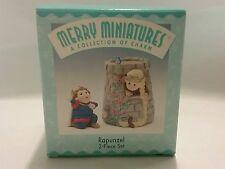"""Hallmark merry miniatures """"rapunzel"""" nib nwt 2 pc set"""