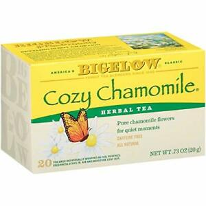 Bigelow Cozy Chamomile Herbal  Tea Bags 20 Count Box Pack of 6 Caffeine Free ...