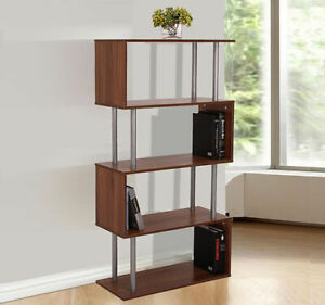 Wooden S Shape Lounge Storage Display Unit Bookcase Bookshelf