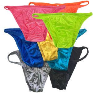 K377 Y Sexy Mens String Bikini String Narrow Shiny Knit Satin fabric