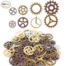 100 Gram Assorted Antique Steampunk Gears Charms Pendants Clock Watch DIY Crafts
