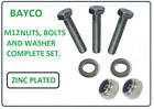 M12 / 12MM NUTS, BOLTS AND WASHERS. COMPLETE SET. ZINC. CHOICE OF BOLT LENGTH.