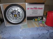"NEW 14"" Tire Rim Gear Clock - Ferrari theme'd W/Real Rubber Tire"