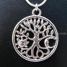 """Beautiful Sun and Moon Tree of life Pendant with 16"""" sterling silver snake chain"""